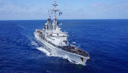 "The French destroyer ""Jean Bart"" carries out a medical evacuation"